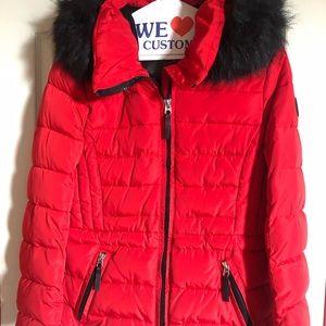 Calvin Klein Red Puffer Jacket/ Faux Fur Trim Hood